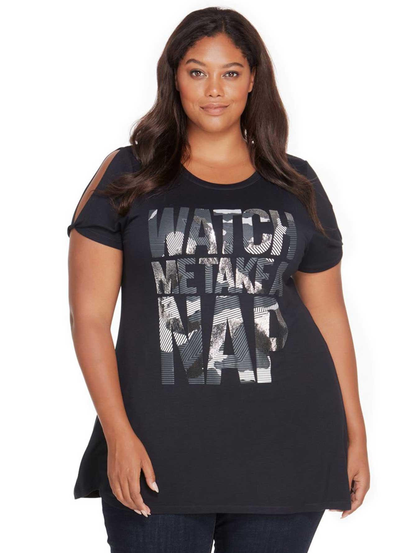 e3172ef2b092d Rebel Wilson Watch Me Take A Nap Graphic Wing Split Shoulder T-Shirt