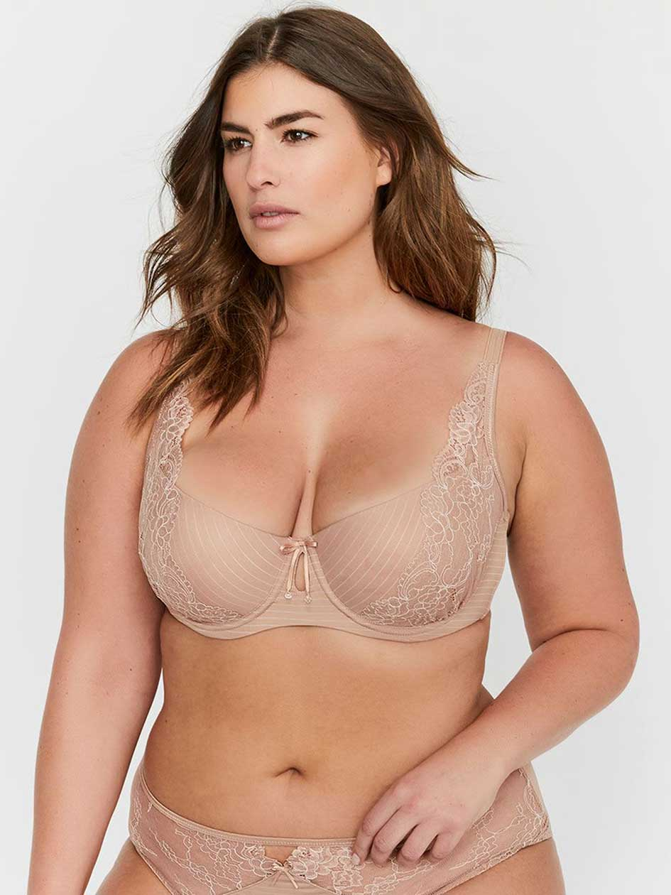 Ashley Graham Lace and Striped Diva Demi Cup Bra 760436