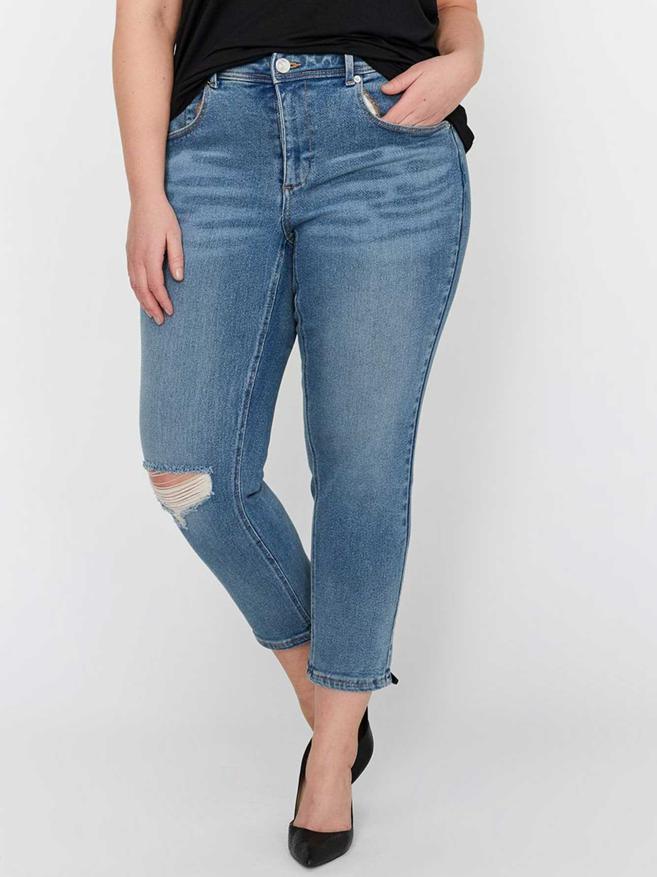 L&L Authentic Relaxed Slim Rolled-Up Crop Denim