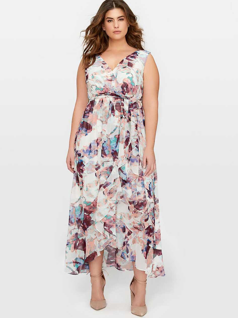 Sleeveless Ruffle Front Maxi Dress