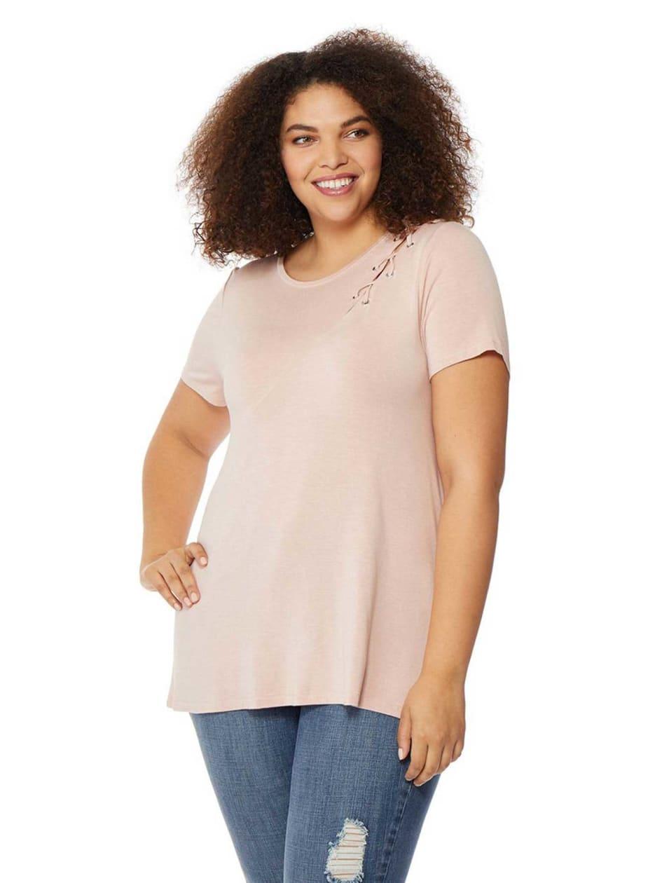 Rebel Wilson Lace-Up Shoulder T-Shirt