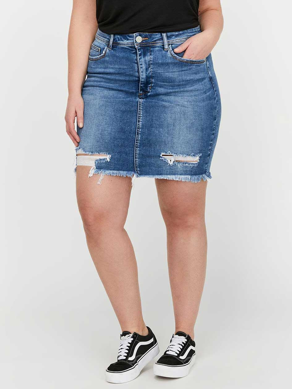 L&L Distressed Denim Miniskirt