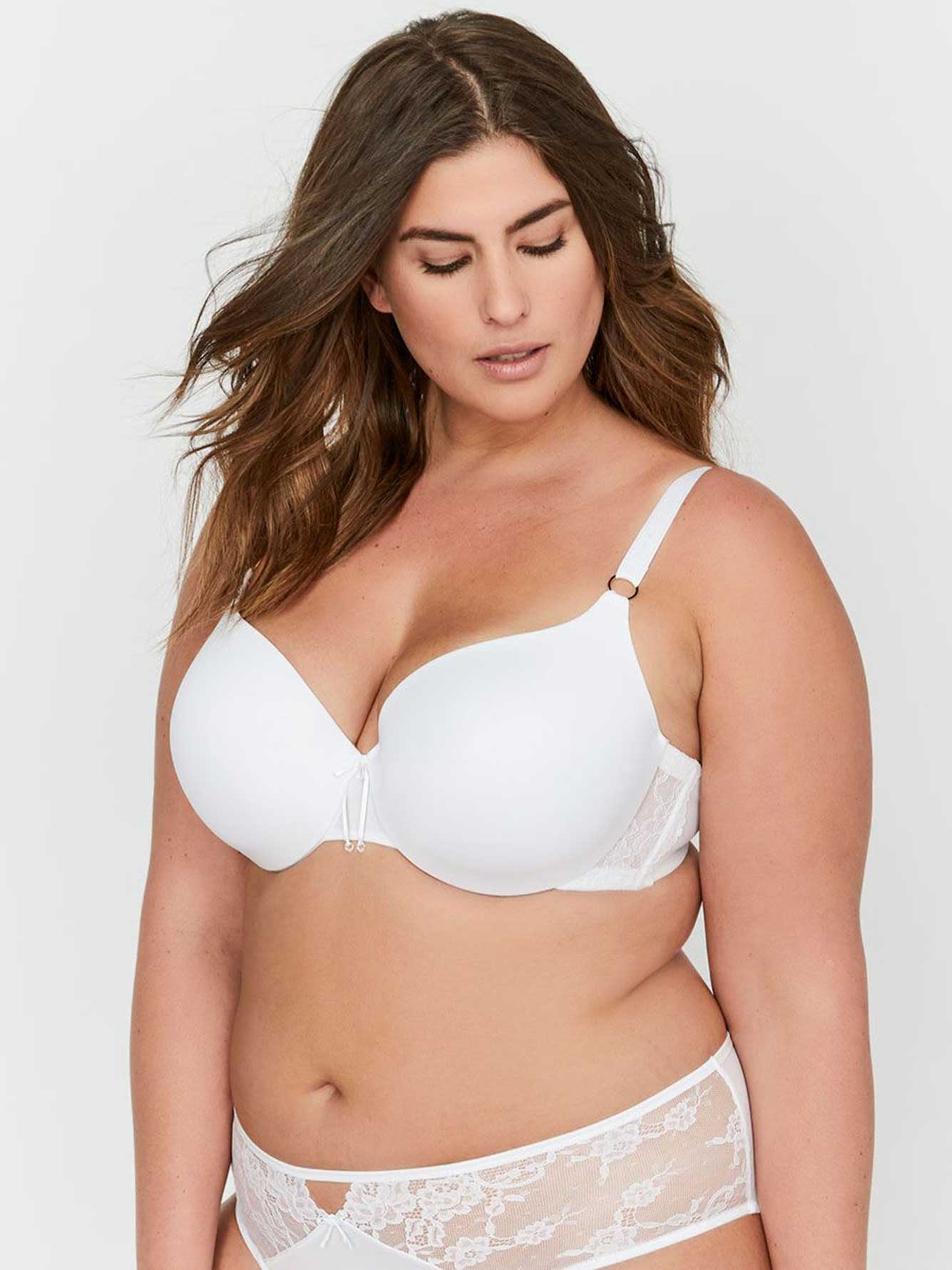 2c78dadf99 Ashley Graham Essentials Icon T-shirt Bra with Lace   Thin Micro Fiber
