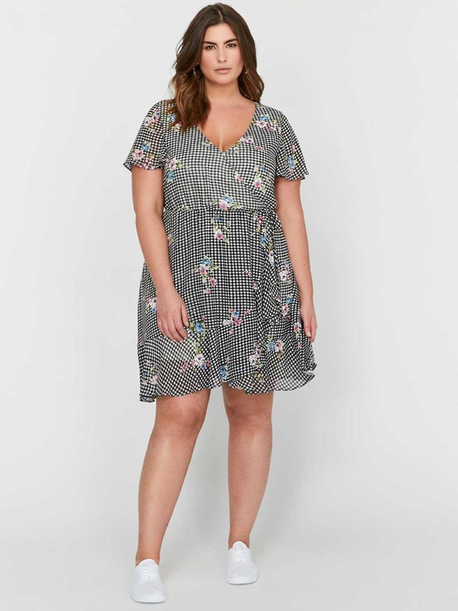 Michel Studio Flutter Sleeveless Printed Faux Wrap Dress