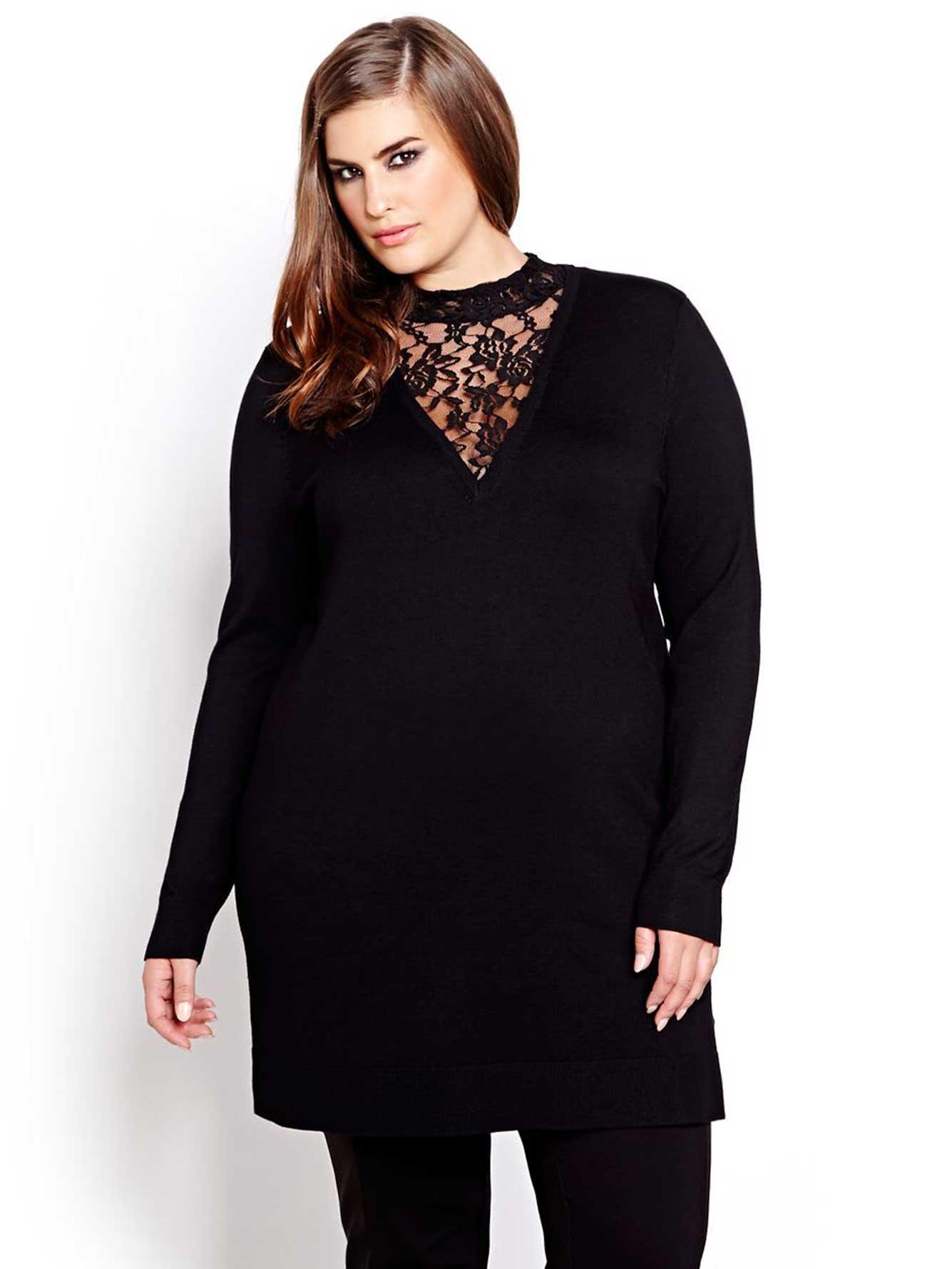 934eb535101 Michel Studio Long Sleeve Lace Sweater | Addition Elle
