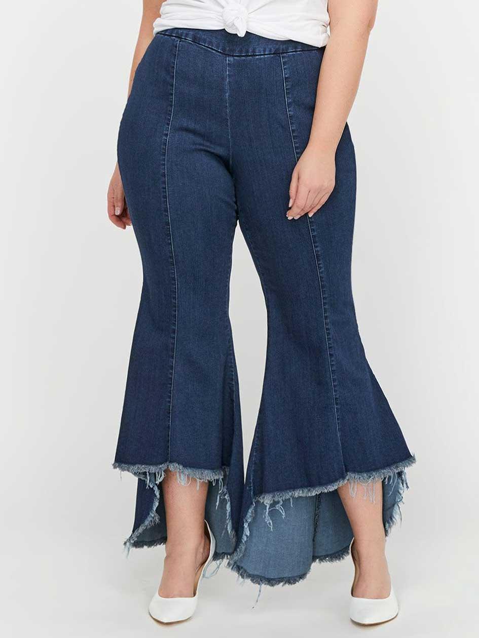 Rachel Roy Raw Asymmetric Hem Flared Crop Jeans