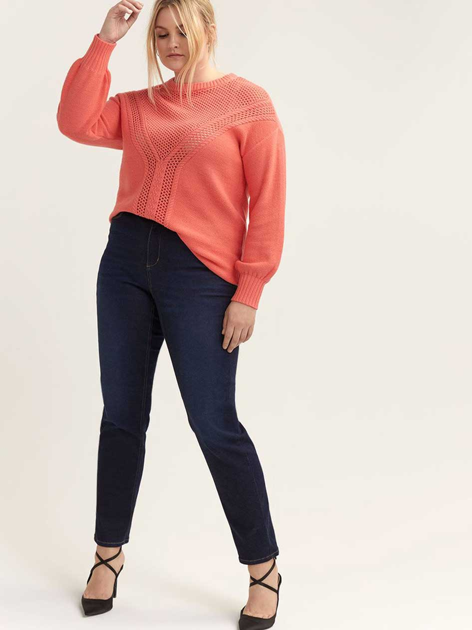 Crew-Neck Sweater with Crochet - L&L