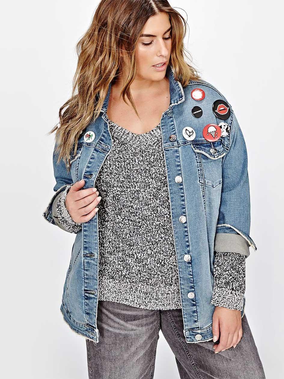 L&L Embellished Boyfriend Denim Jacket with Pin Buttons.Medium Wash Denim.24
