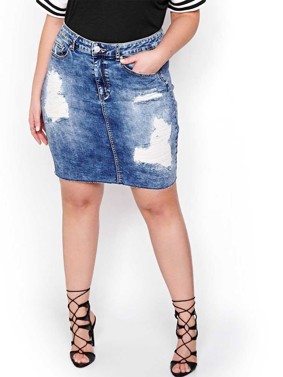 L&L Ripped and Repaired Denim Skirt