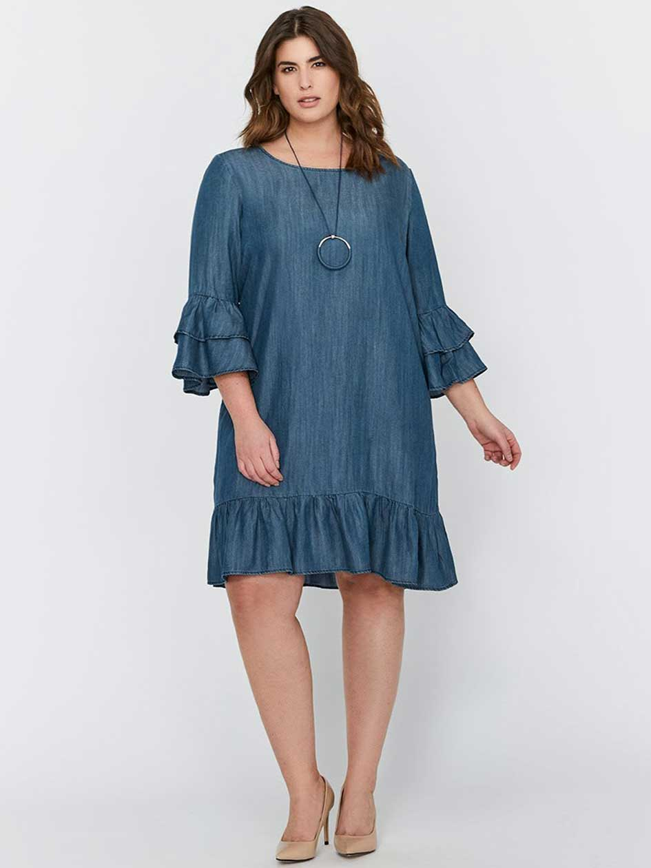 Michel Studio Sleeveless Flutter Tencel Dress