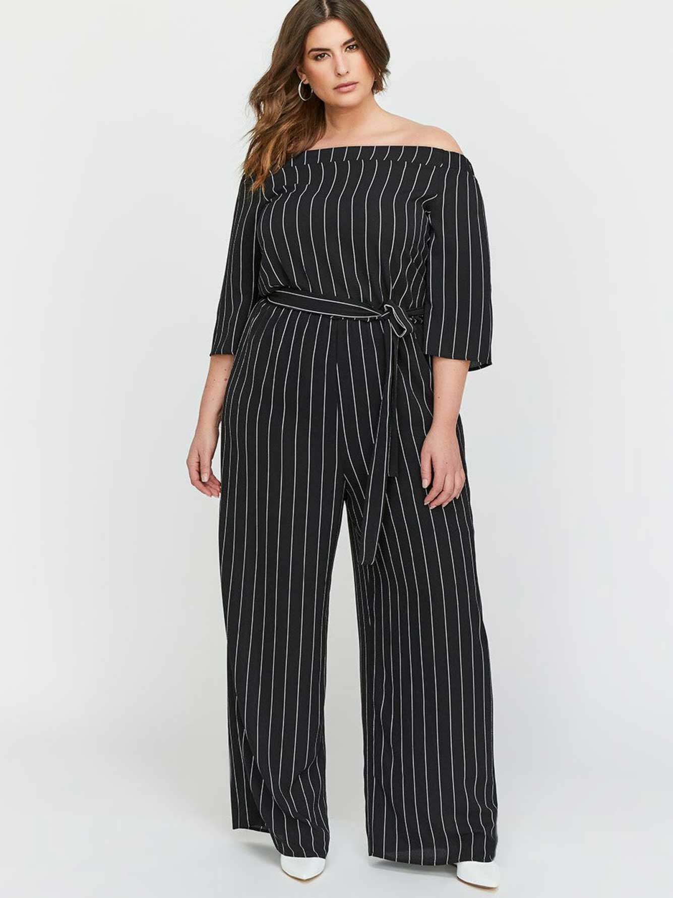 b150f8daf69 Michel Studio Off-the-Shoulders Striped Jumpsuit