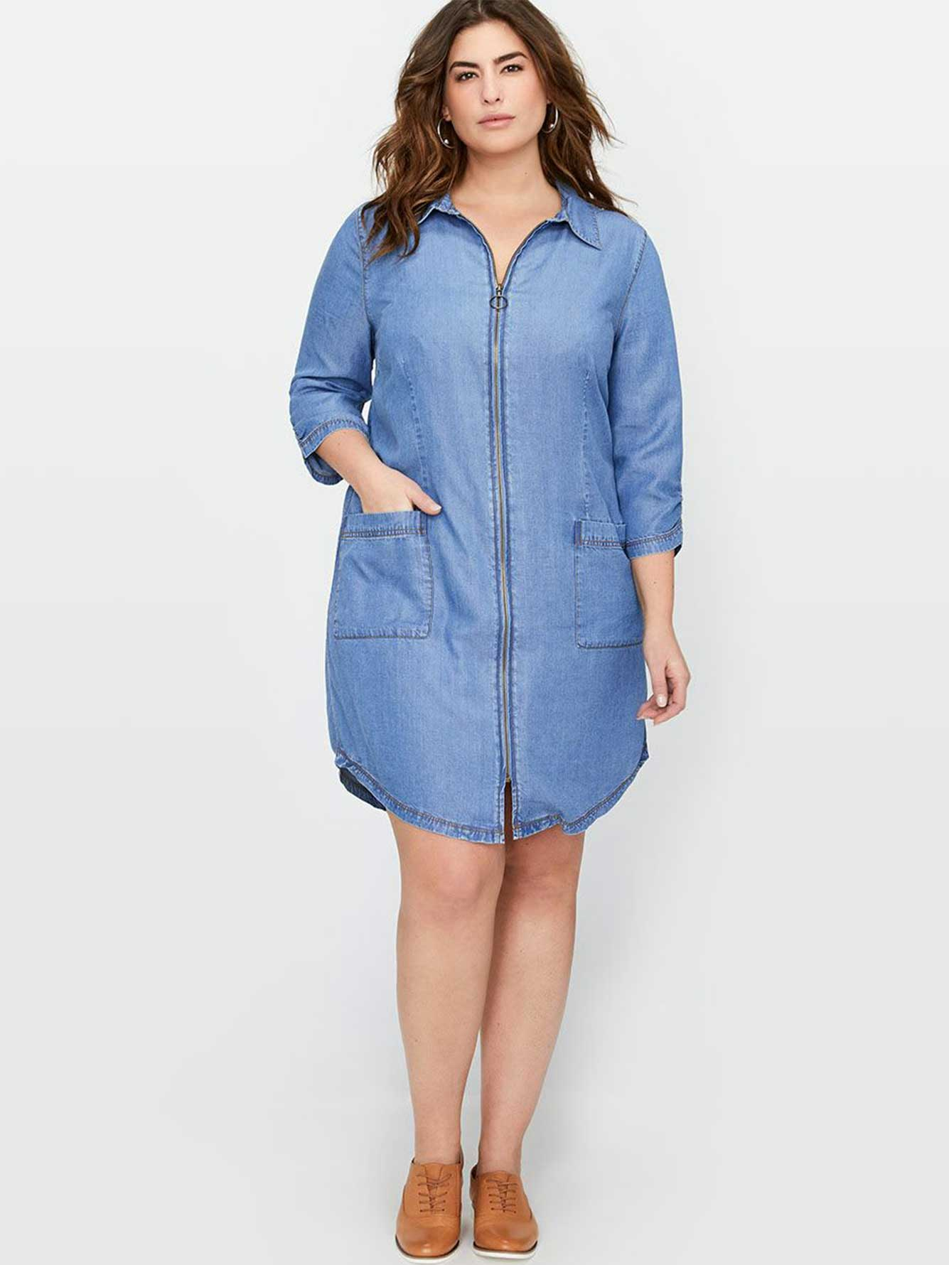 L&L Denim Shirt Dress with Zip | Addition Elle