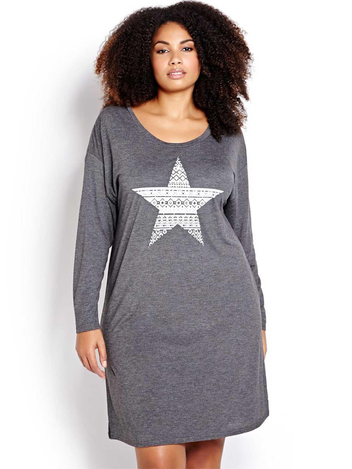 Bonne Nuit Star Print Long Sleeve Sleep Shirt  31b696157
