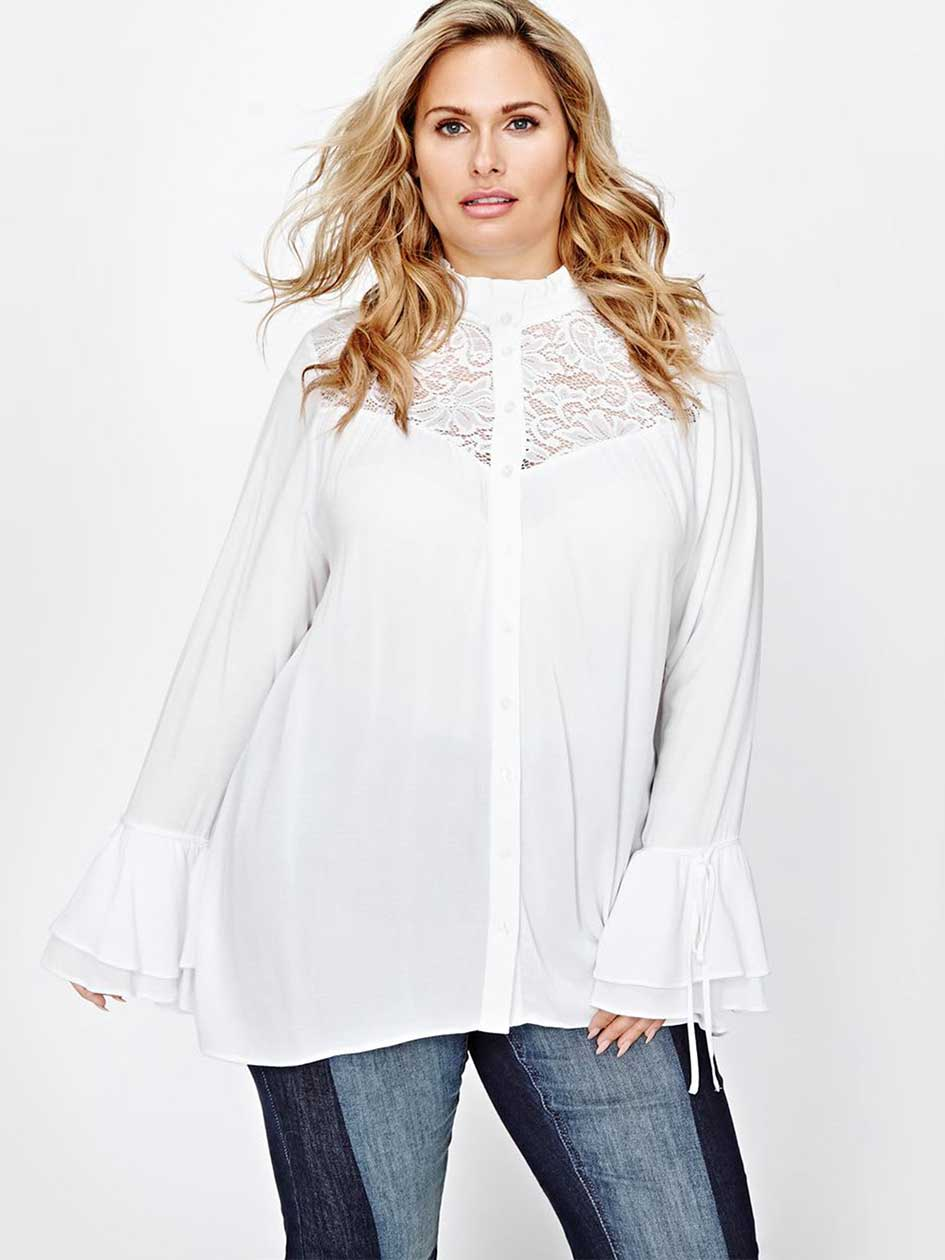 Victorian Blouses, Tops, Shirts, Vests LL Ruffle and Lace Blouse $68.00 AT vintagedancer.com