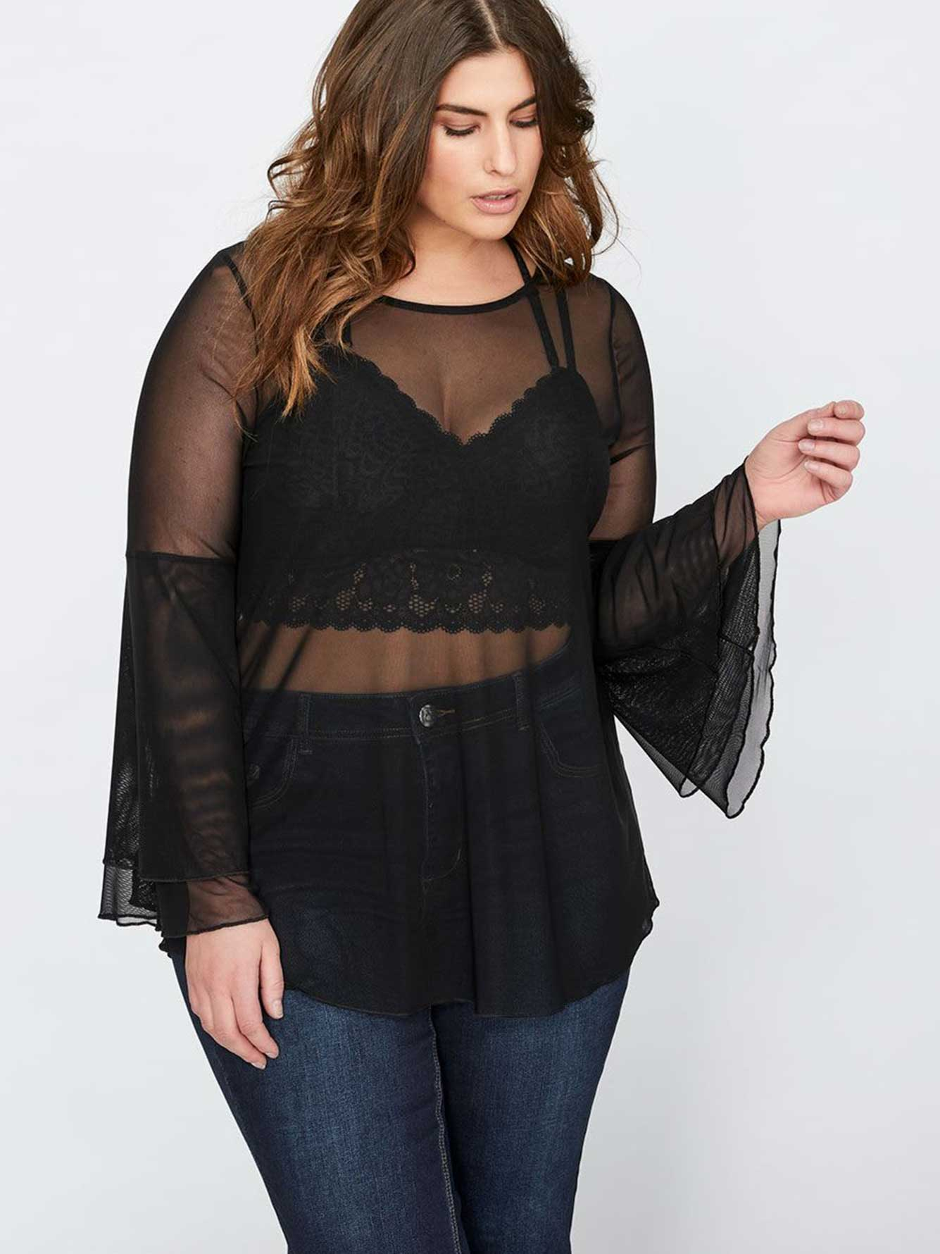 bb9477a2b60c4 L L Mesh Top with Double Ruffle Sleeves