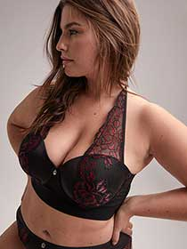 Phenomenon Lace and Mesh Halter Bra - Ashley Graham
