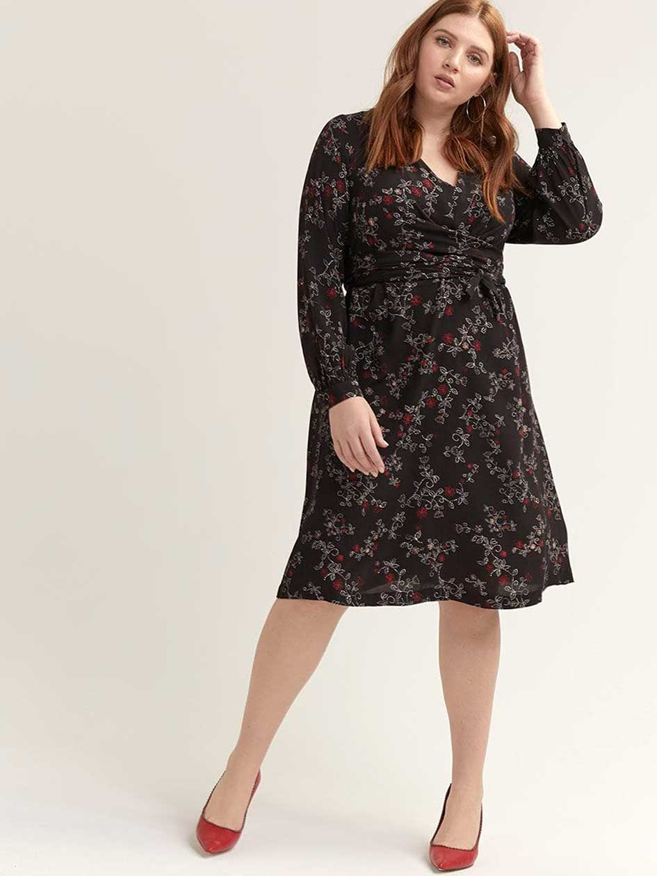 8cc407b7074 Crisscross Faux Wrap Printed Dress - Michel Studio