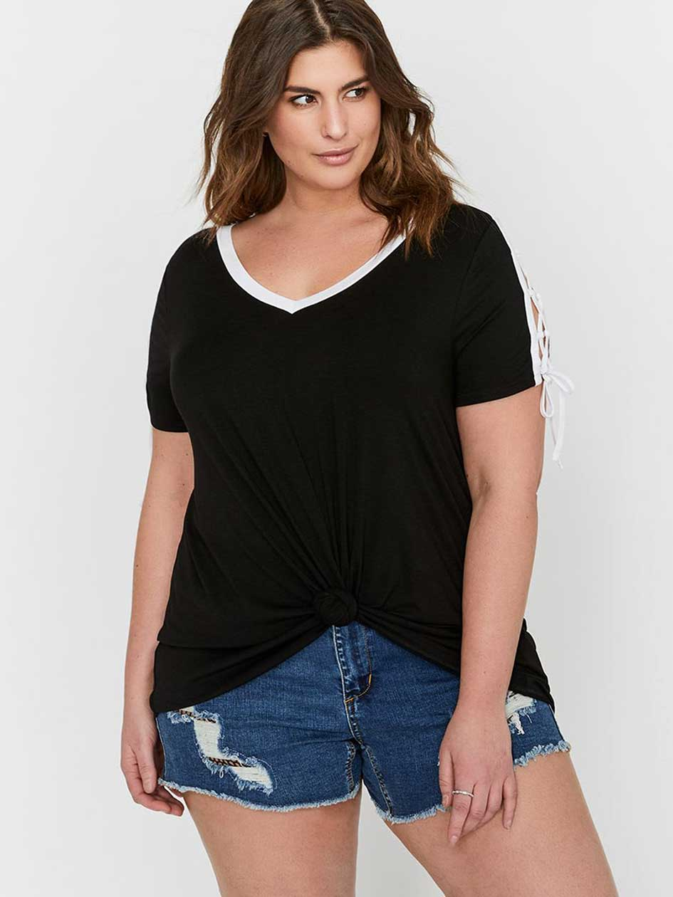 L&L Contrast Shoulder Lace-Up Top