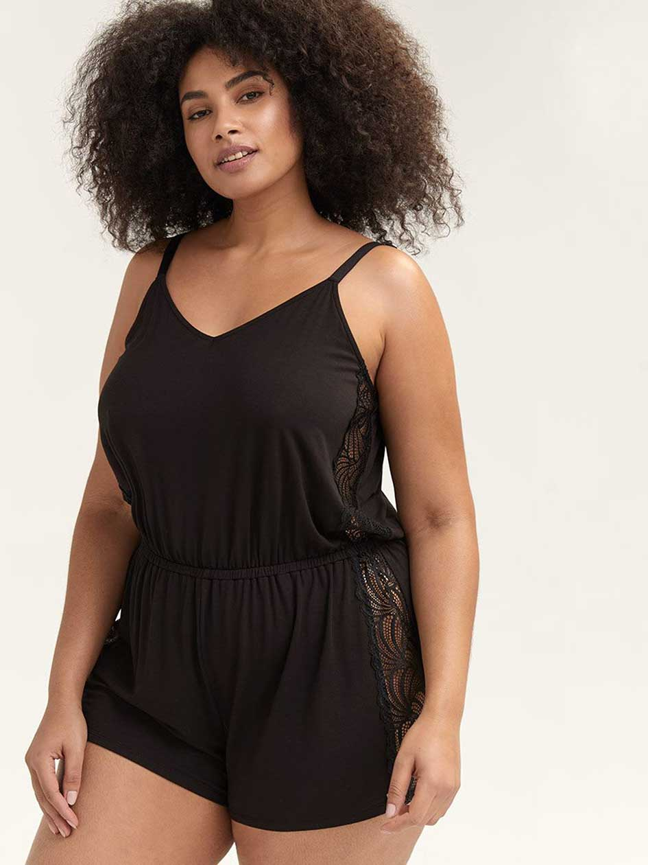 One-Piece Romper with Lace Details - Ashley Graham