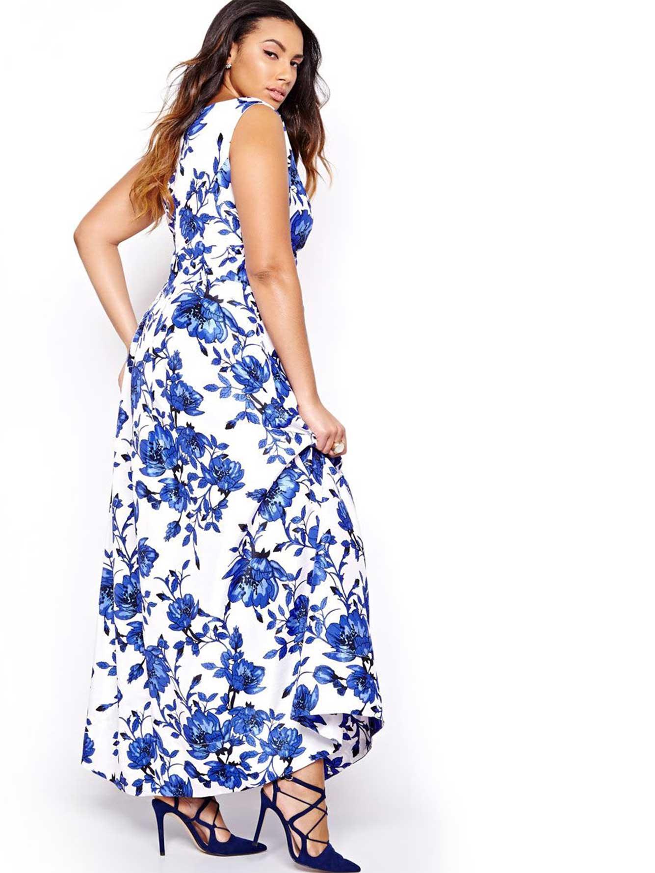 Sangria blue flower print maxi dress addition elle sangria blue flower print maxi dress mightylinksfo