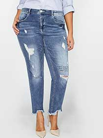 L&L Relaxed Distressed Jean with Print