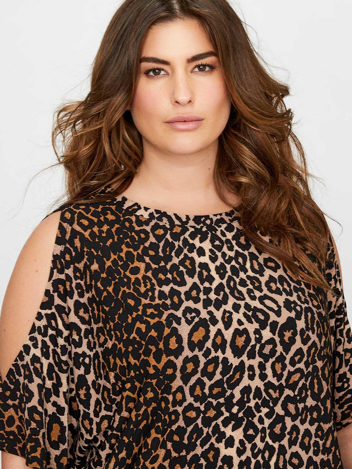 f3f6453e4bea2f Rachel Roy Leopard Print Cold Shoulder Top
