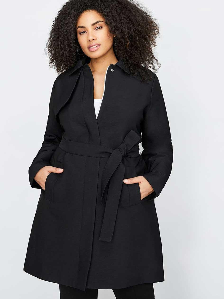 Michel Studio Classic Black Trench Coat