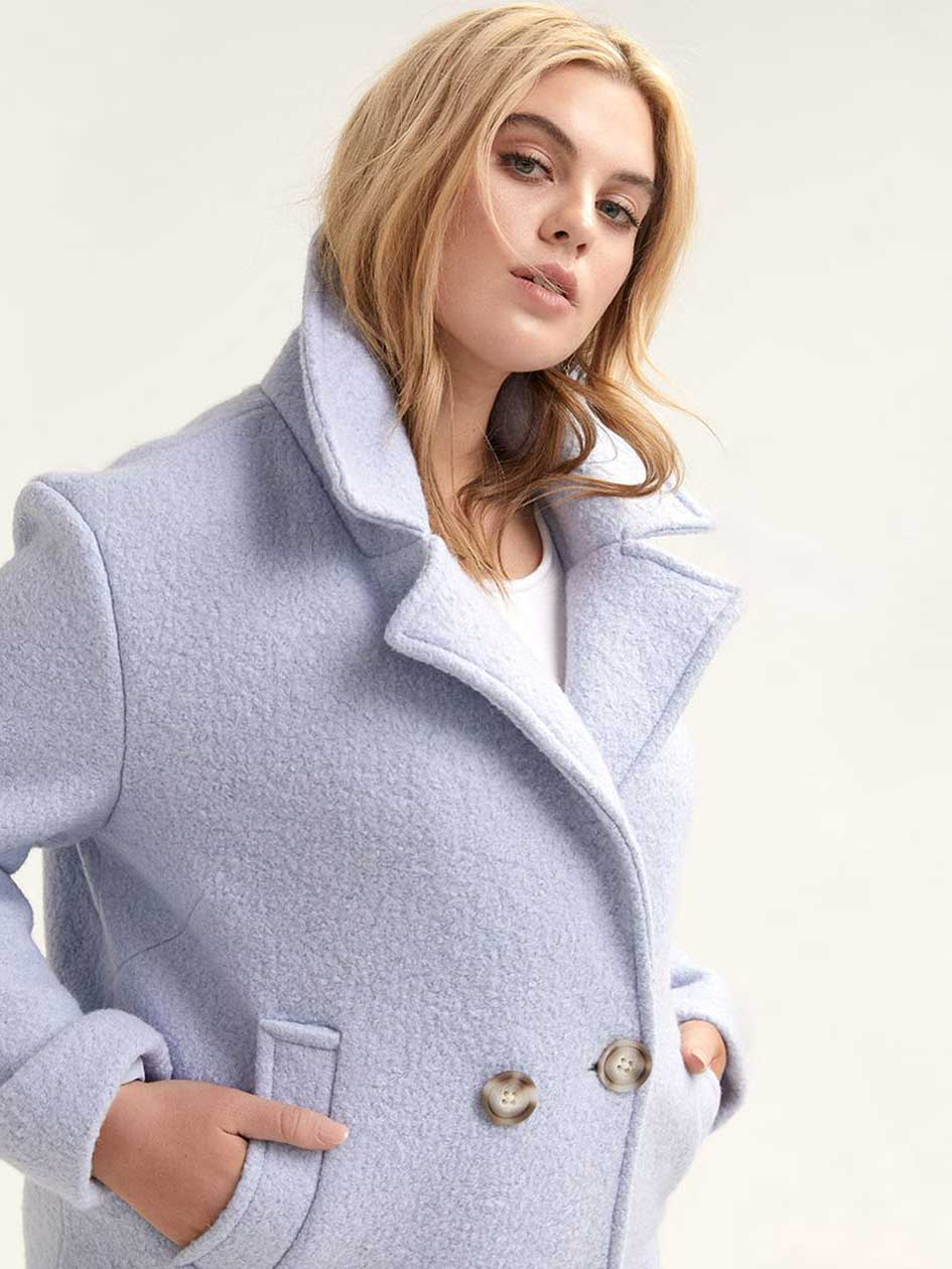 Double Breasted Boucle Wool-Blend Coat - Michel Studio