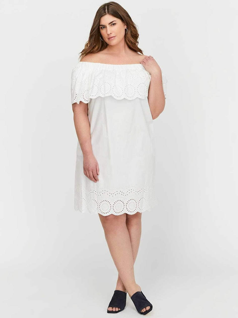 Rachel Roy Eyelet Embroidered Off-the-Shoulder Dress