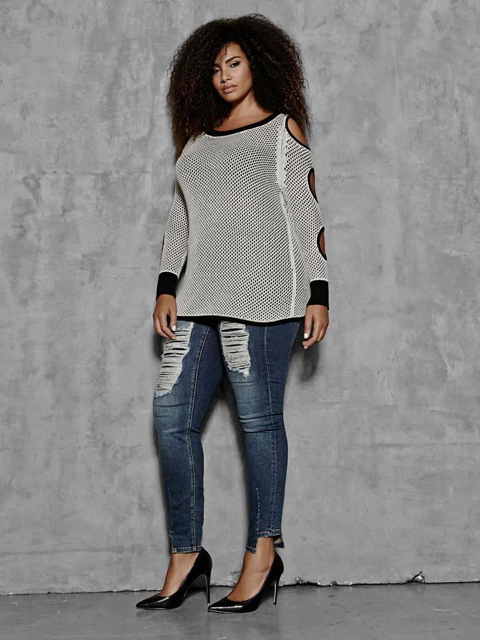 L&L Mesh Stitch Sweater With Holes At Sleeve