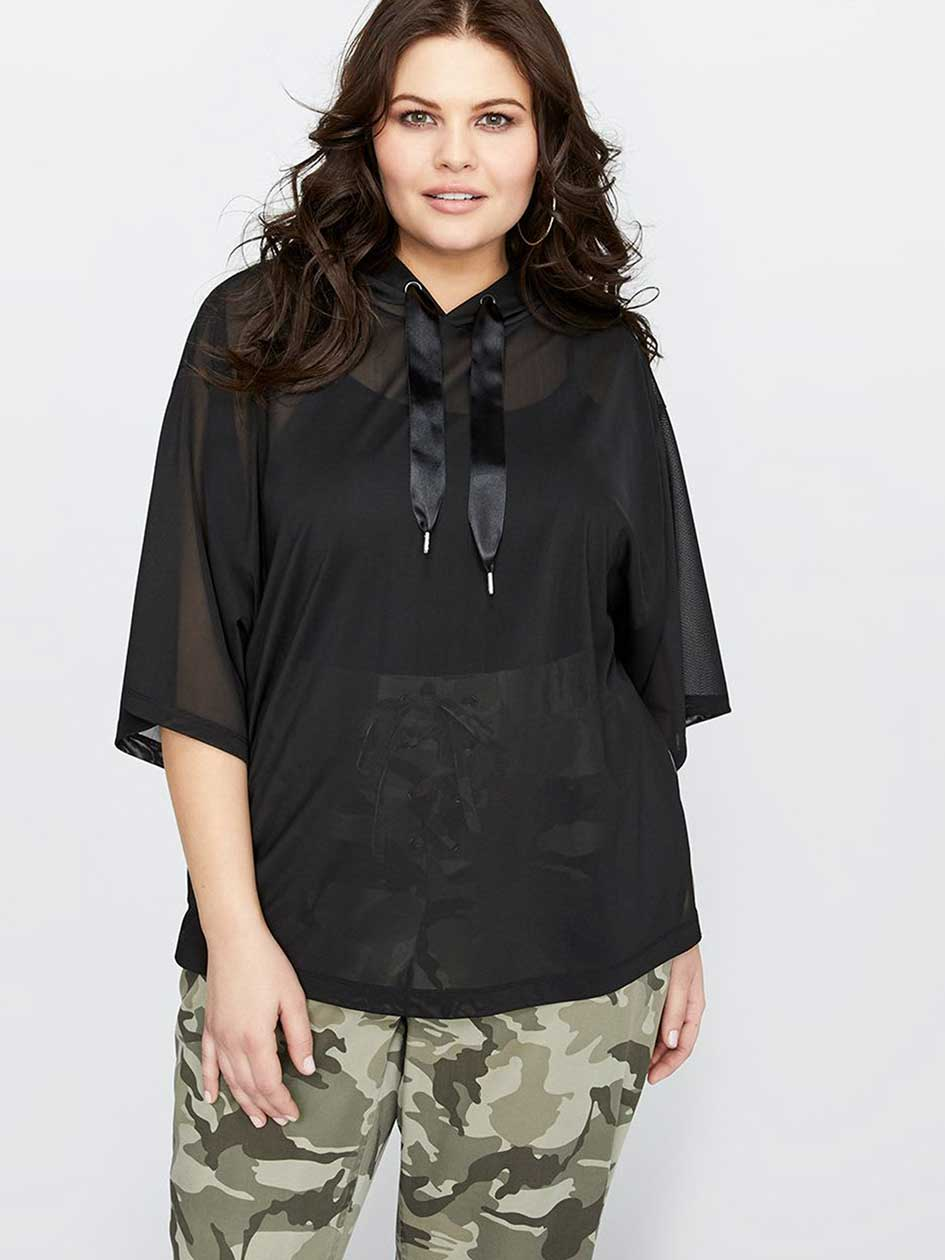L&L Hooded Dropped Shoulder Popover Boxy Top