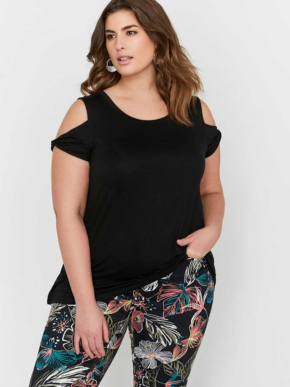 L&L Cold Shoulder with Twisted Sleeves Top