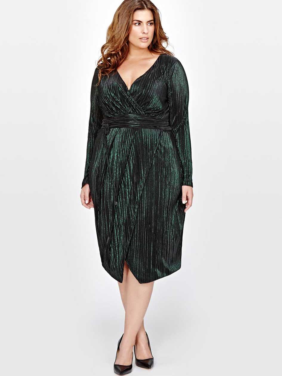 60s Plus Size Retro Dresses, Clothing, Costumes | 70s Dresses Rachel Roy Faux Wrap Dress $219.00 AT vintagedancer.com