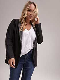 Faux Leather Shawl Collar Blazer - Michel Studio