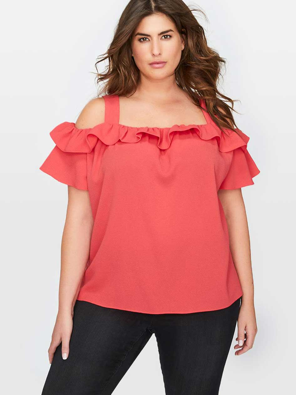 Rachel Roy Cold Shoulder Top With Ruffle