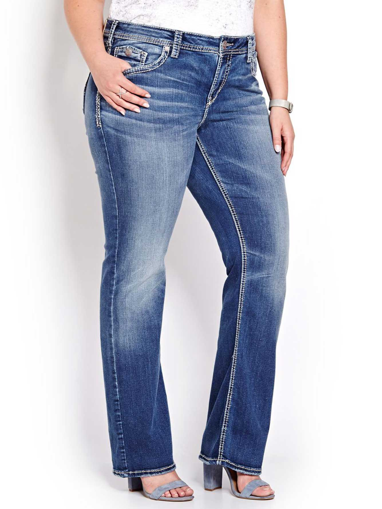 eb8ed791 Silver Aiko Boot Cut Jeans   Addition Elle
