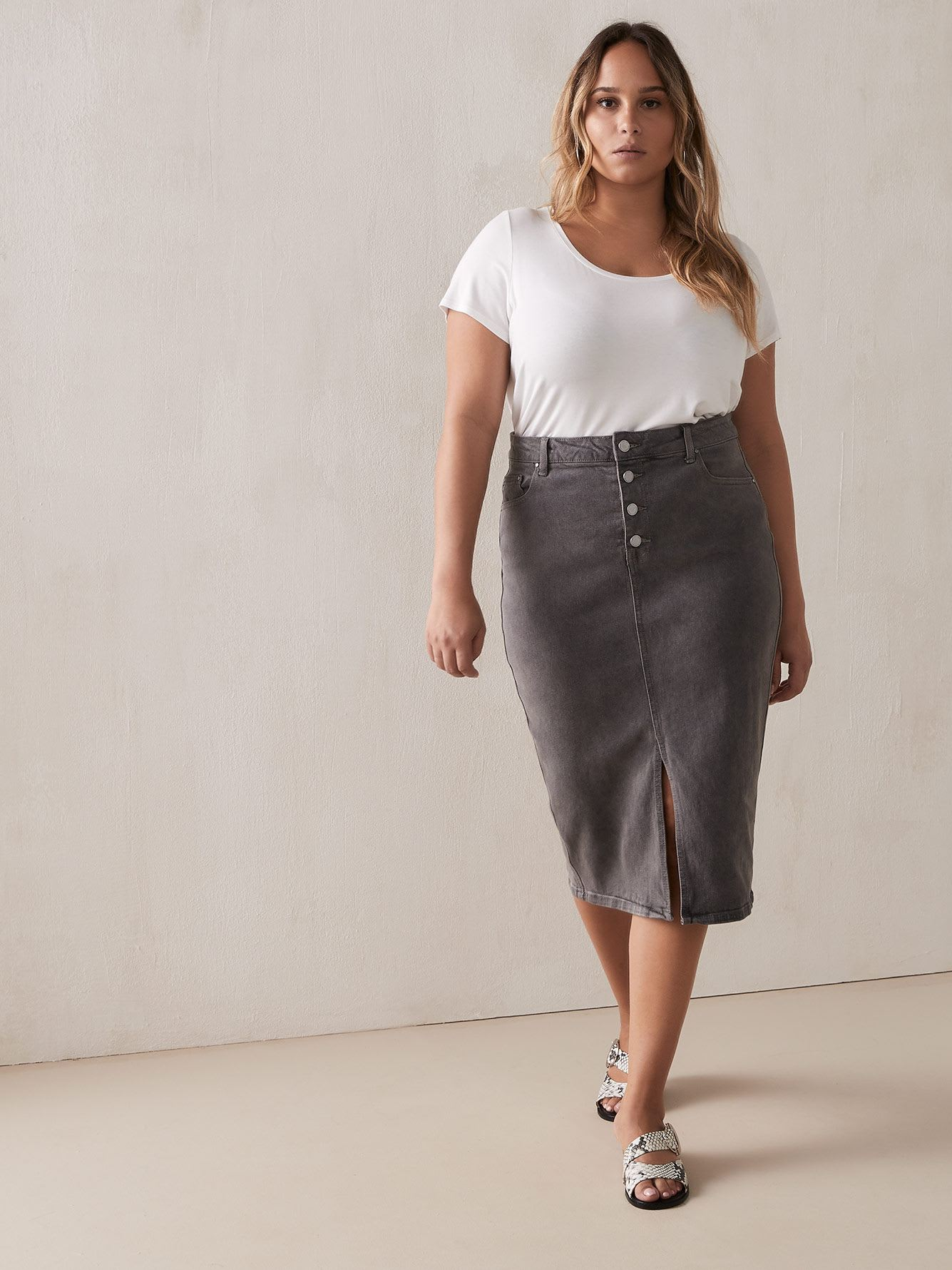 Grey Denim Pencil Skirt with Exposed Button-Fly - Lost Ink