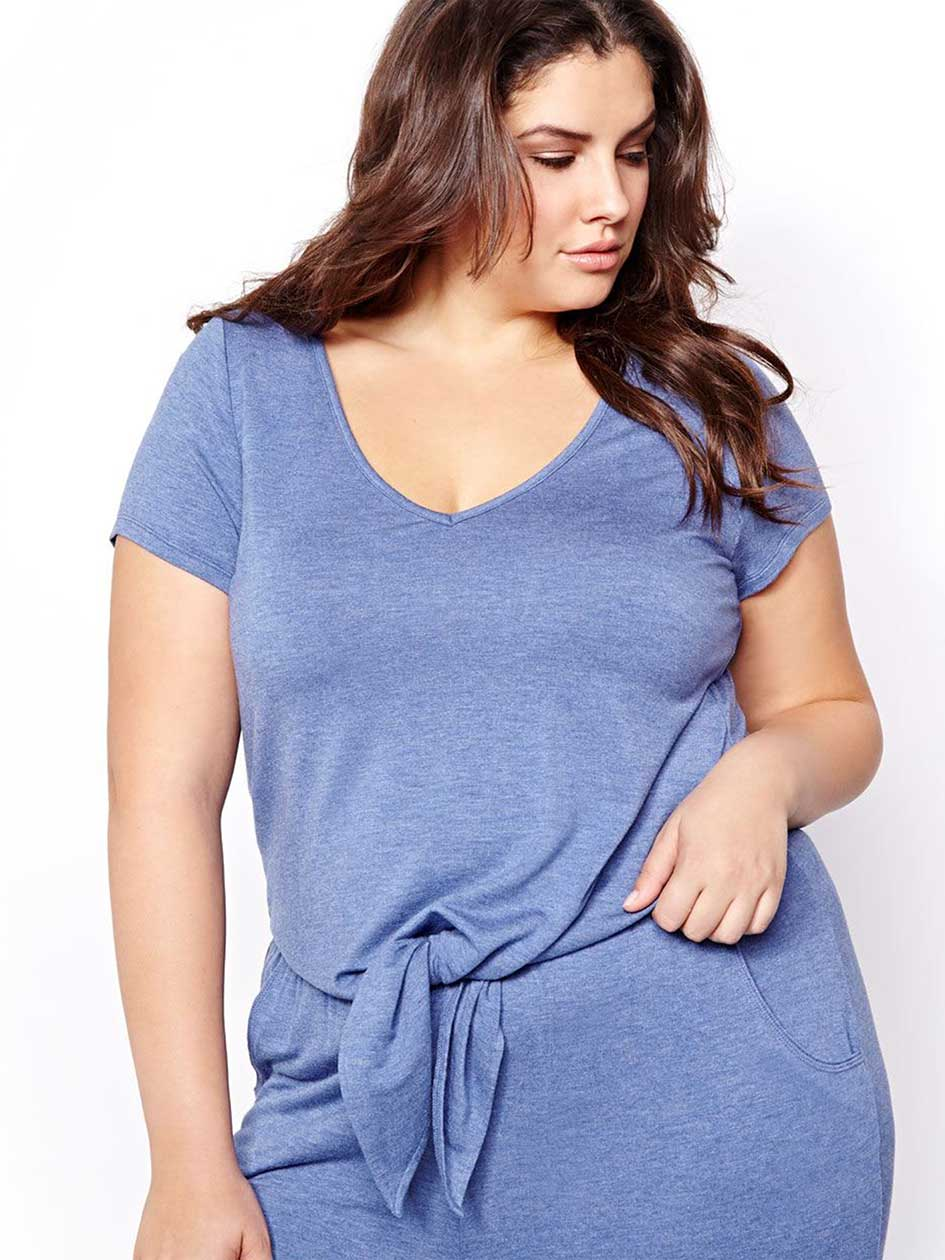 Heather Blue PJ Top with Front Tie - Déesse Collection