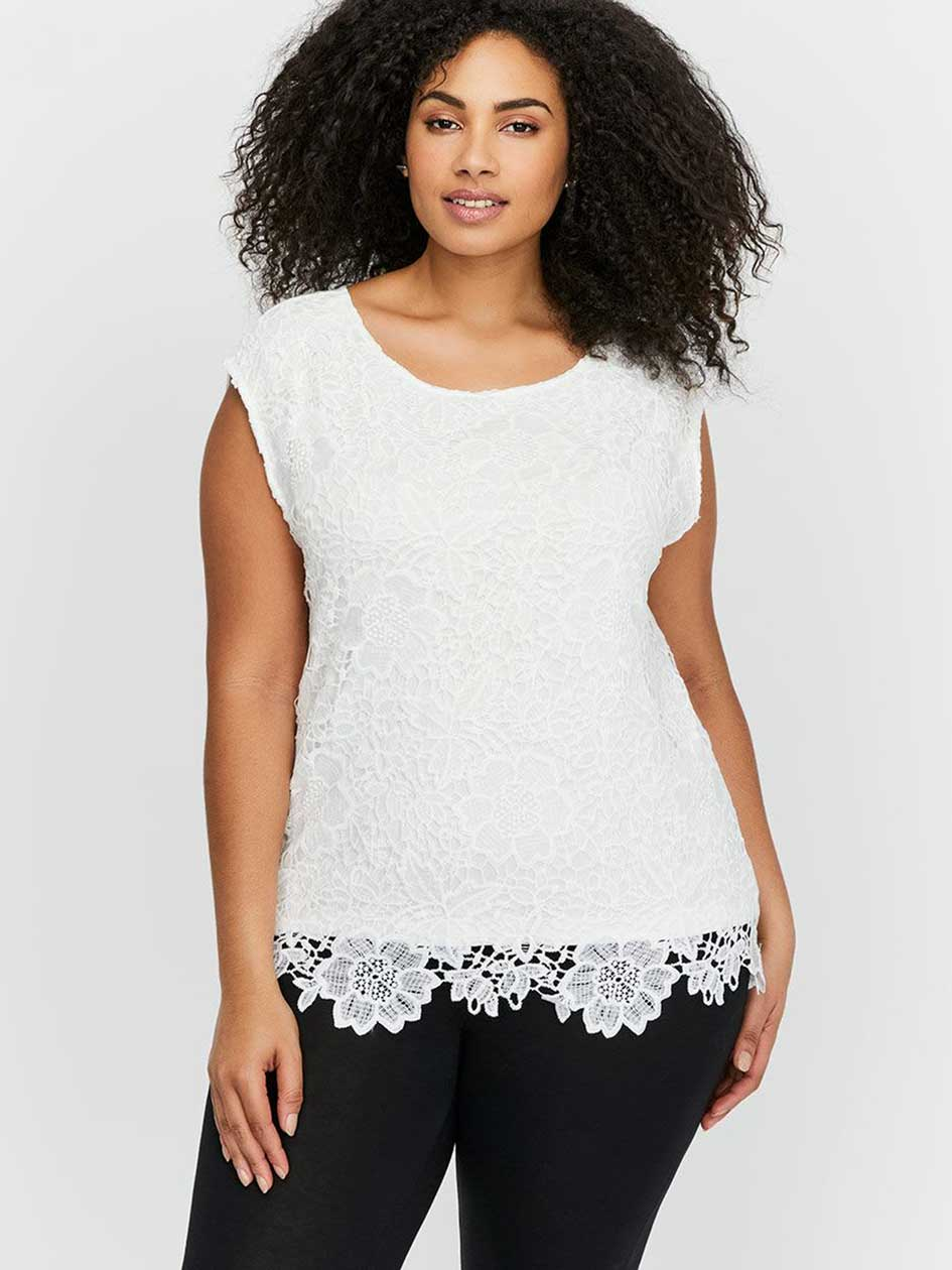 Michel Studio Boxy Sleeveless Top with Lace