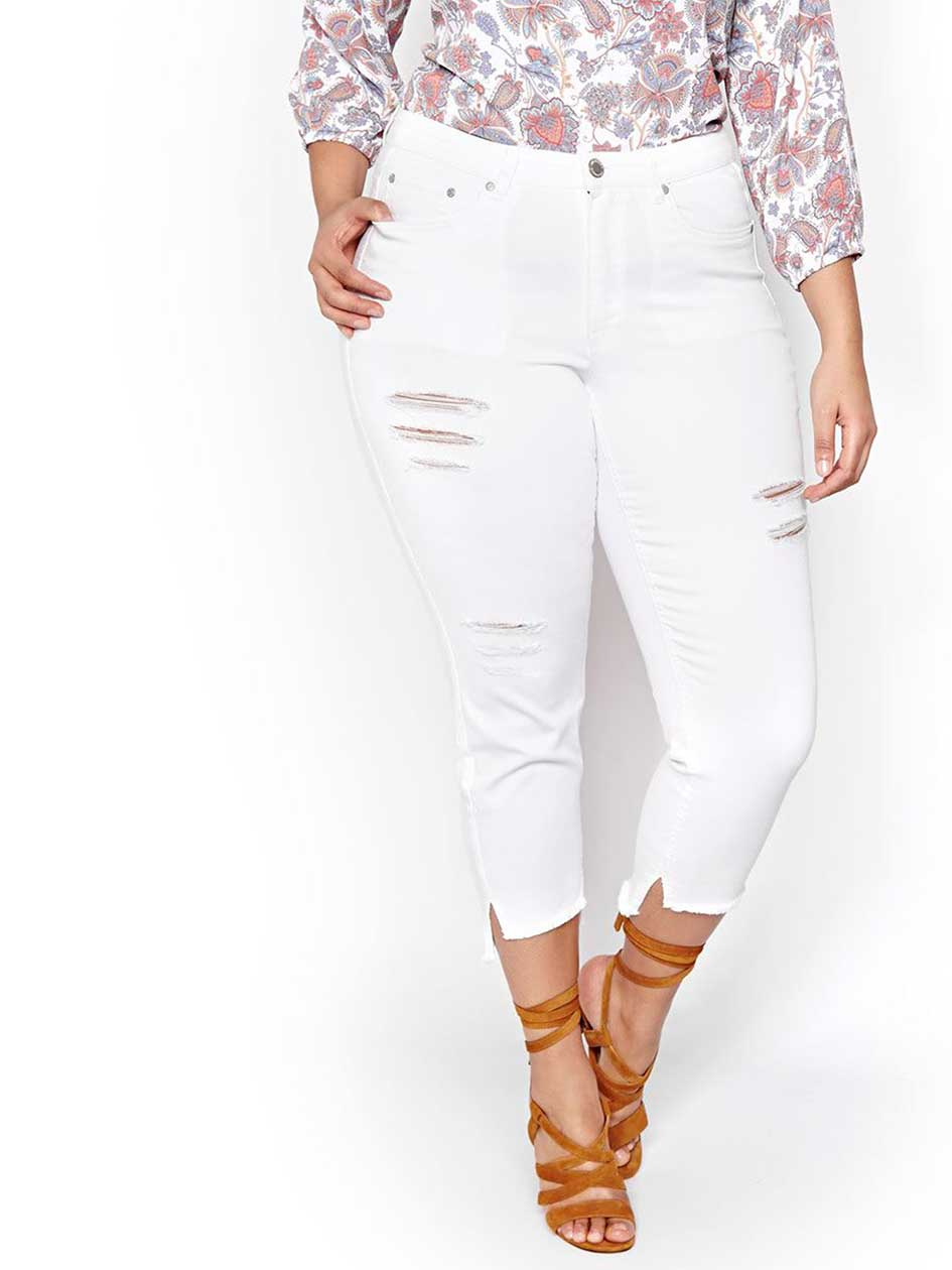 L&L Distressed White Ankle Jean