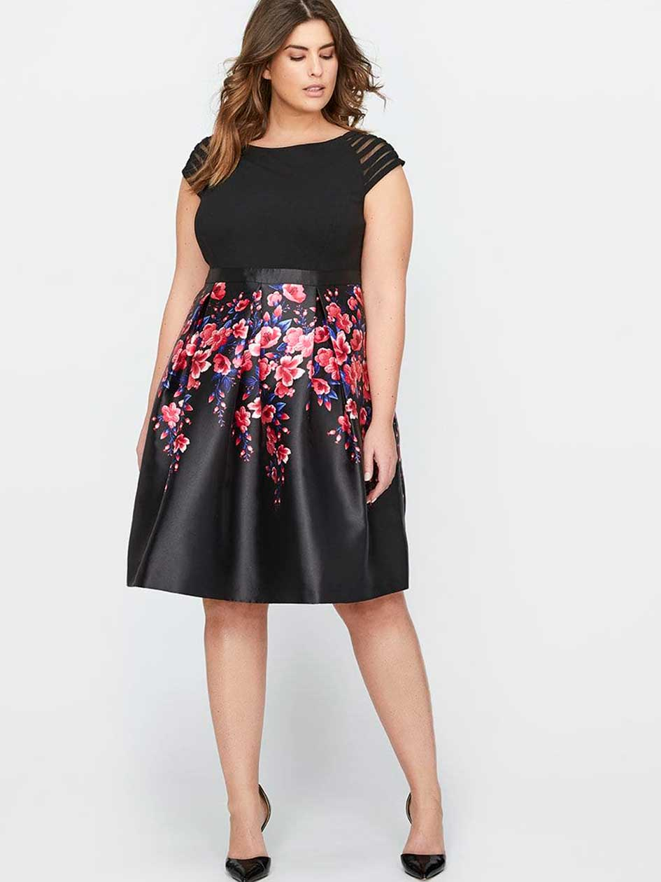 Michel Studio Short Sleeve Patterned Fit & Flare Party Dress