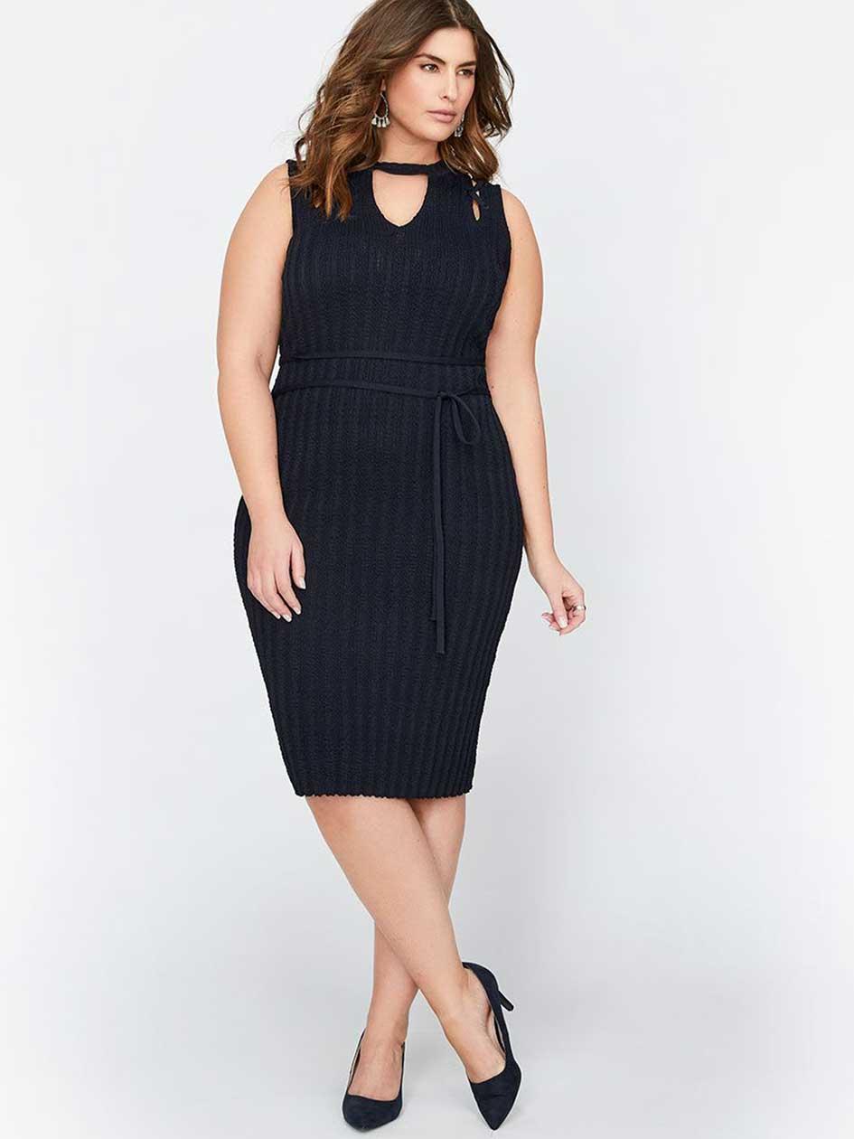 Rachel Roy Sleeveless Lace-Up Shoulder Dress