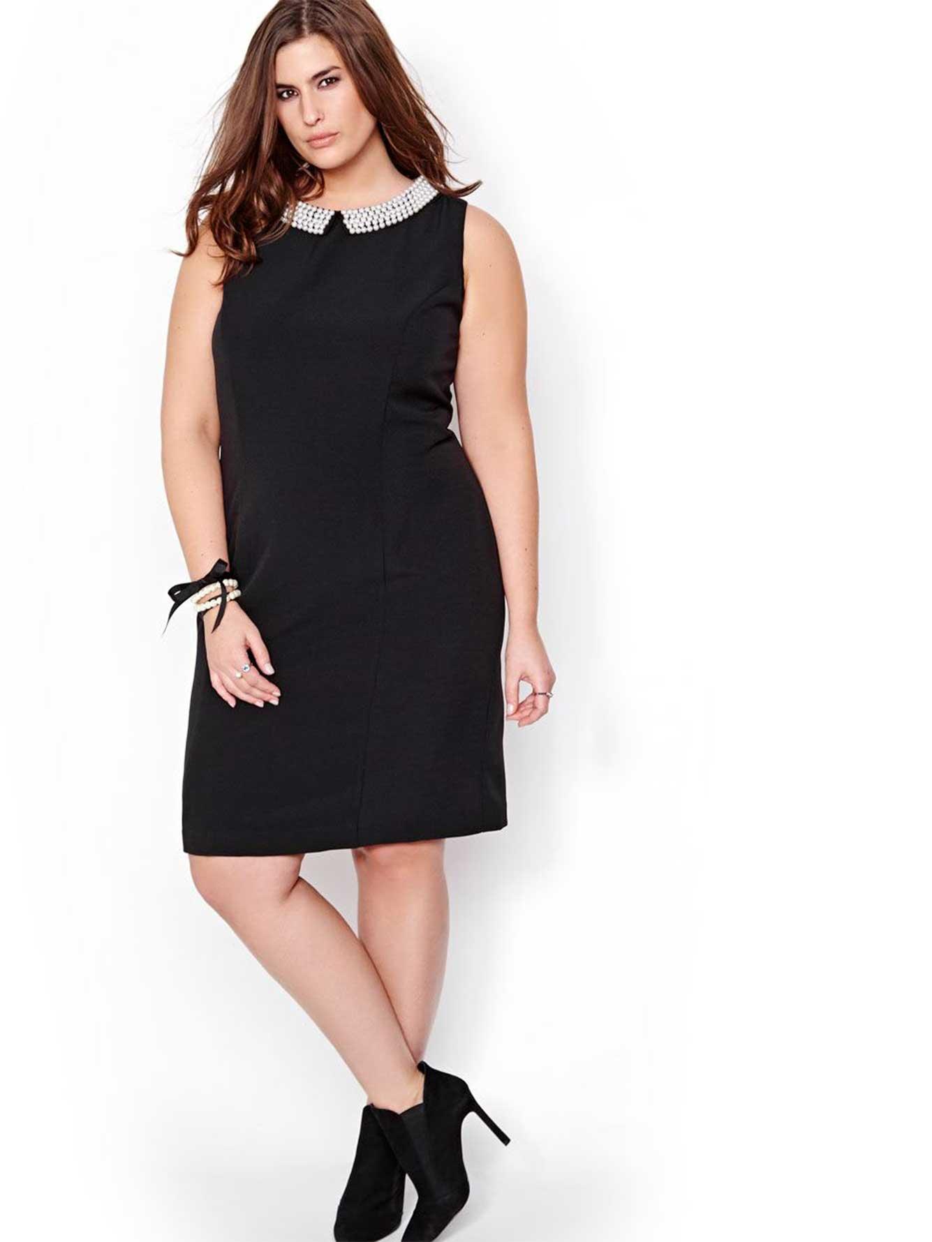 robe avec col en perles michel studio addition elle. Black Bedroom Furniture Sets. Home Design Ideas