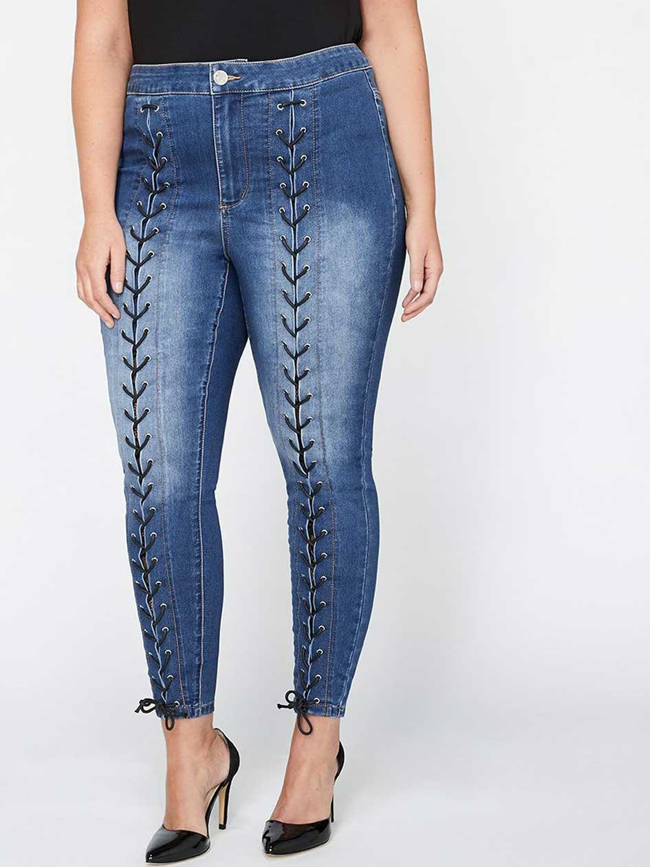 L&L Lace-Up Skinny Jean