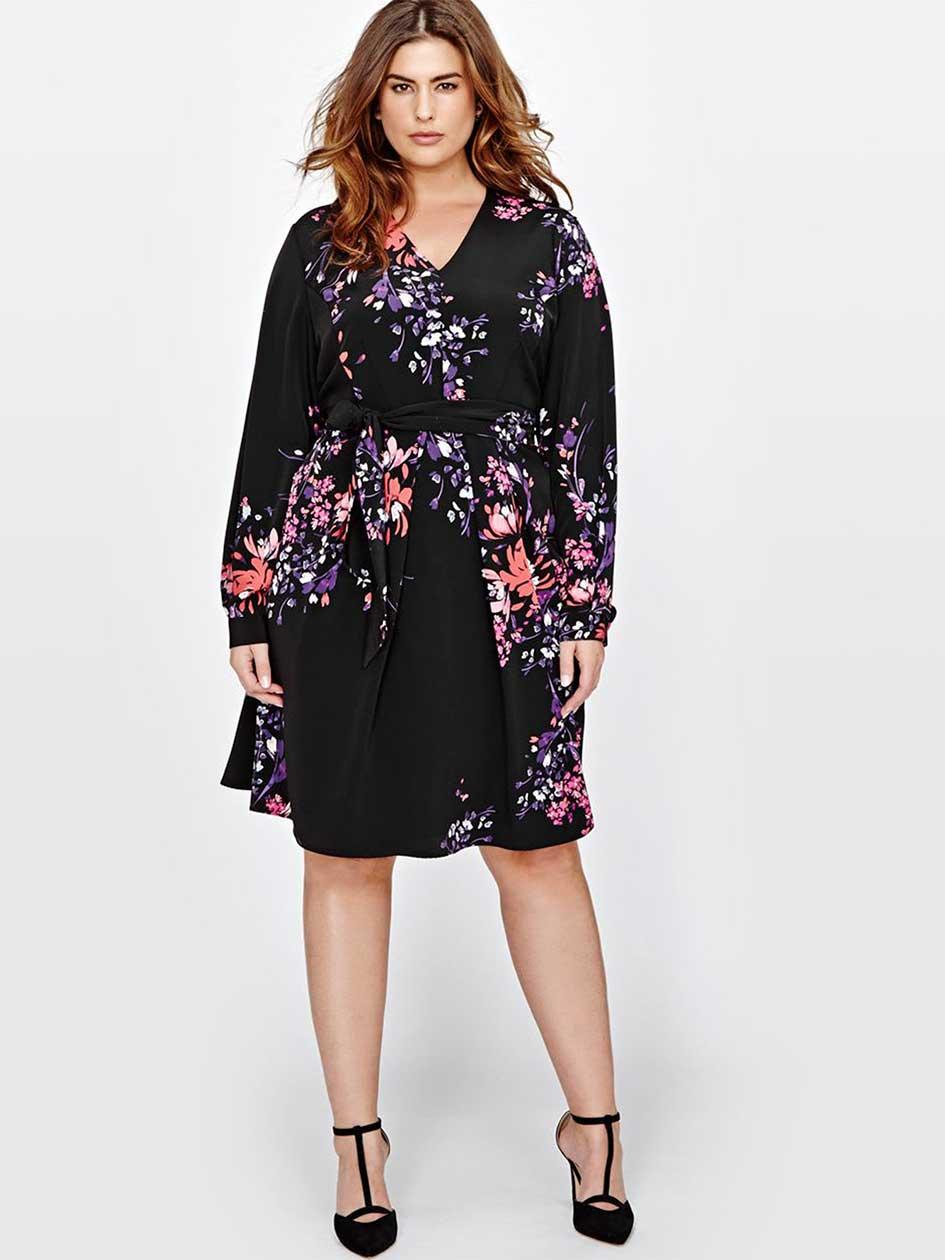 Rachel Roy Printed Faux Wrap Dress