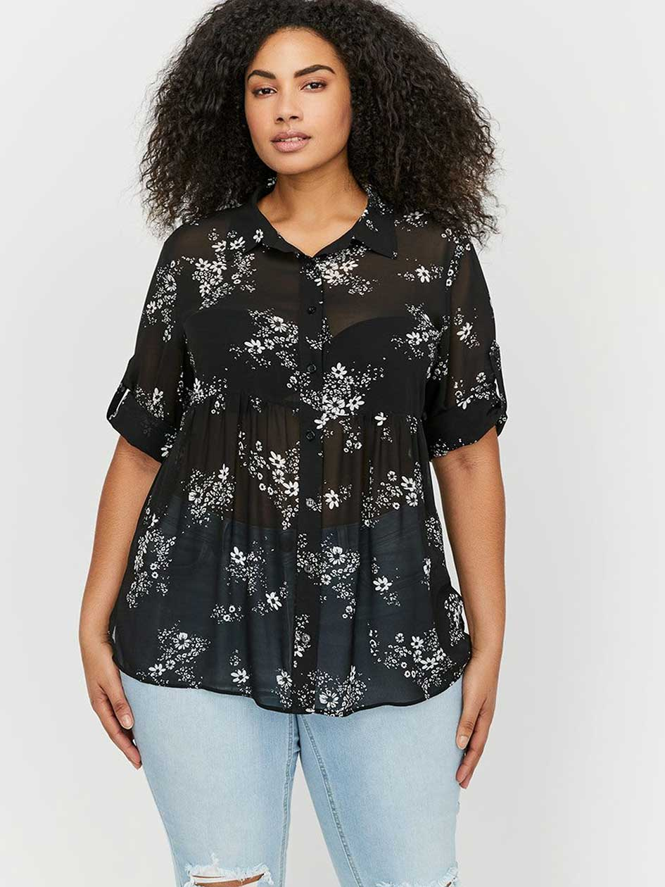 Michel Studio Three-Quarter Roll Up Sleeve Printed Baby Doll Tunic Blouse