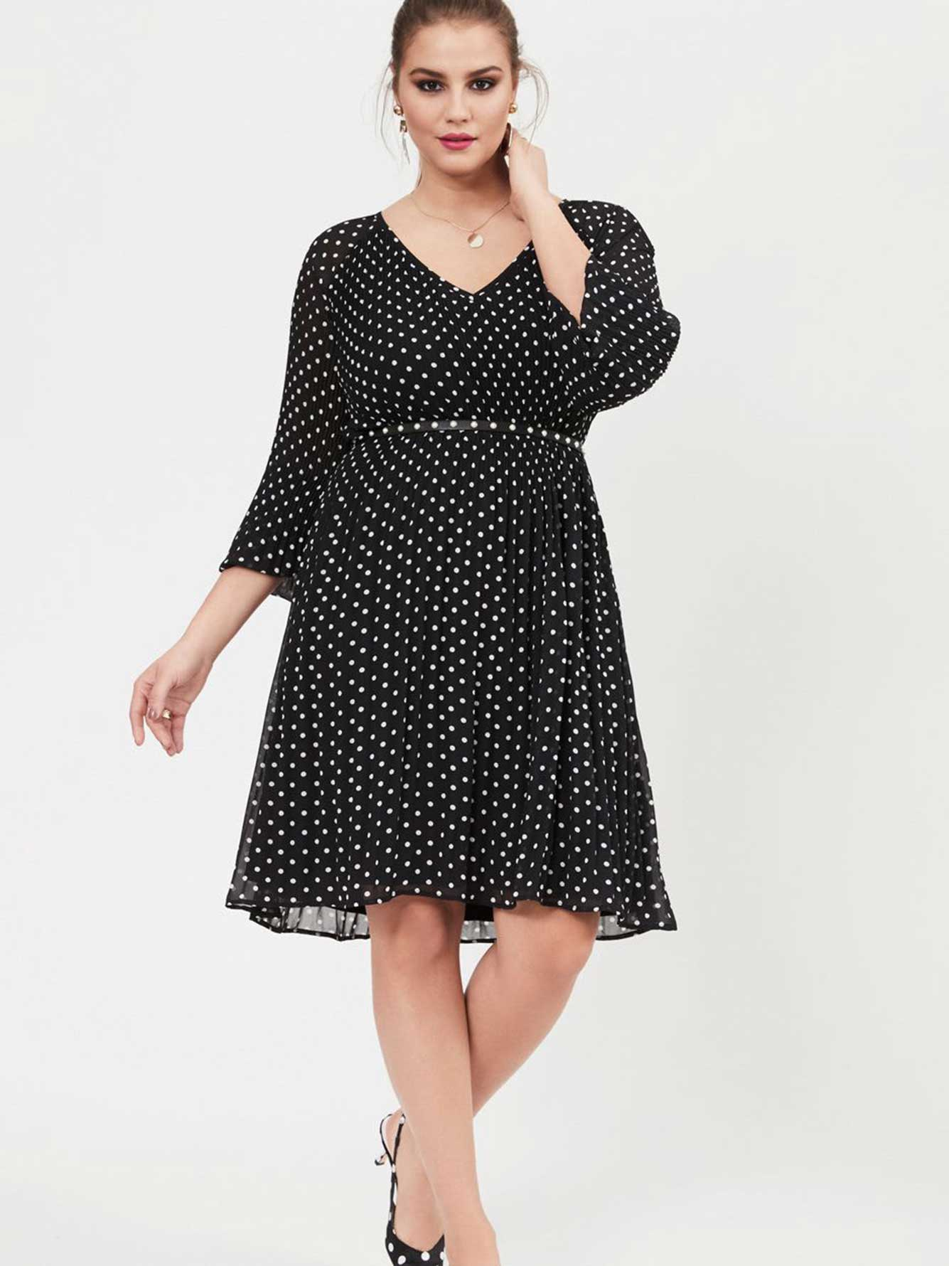 Michel Studio Raglan Sleeve Polka Dot Dress | Addition Elle