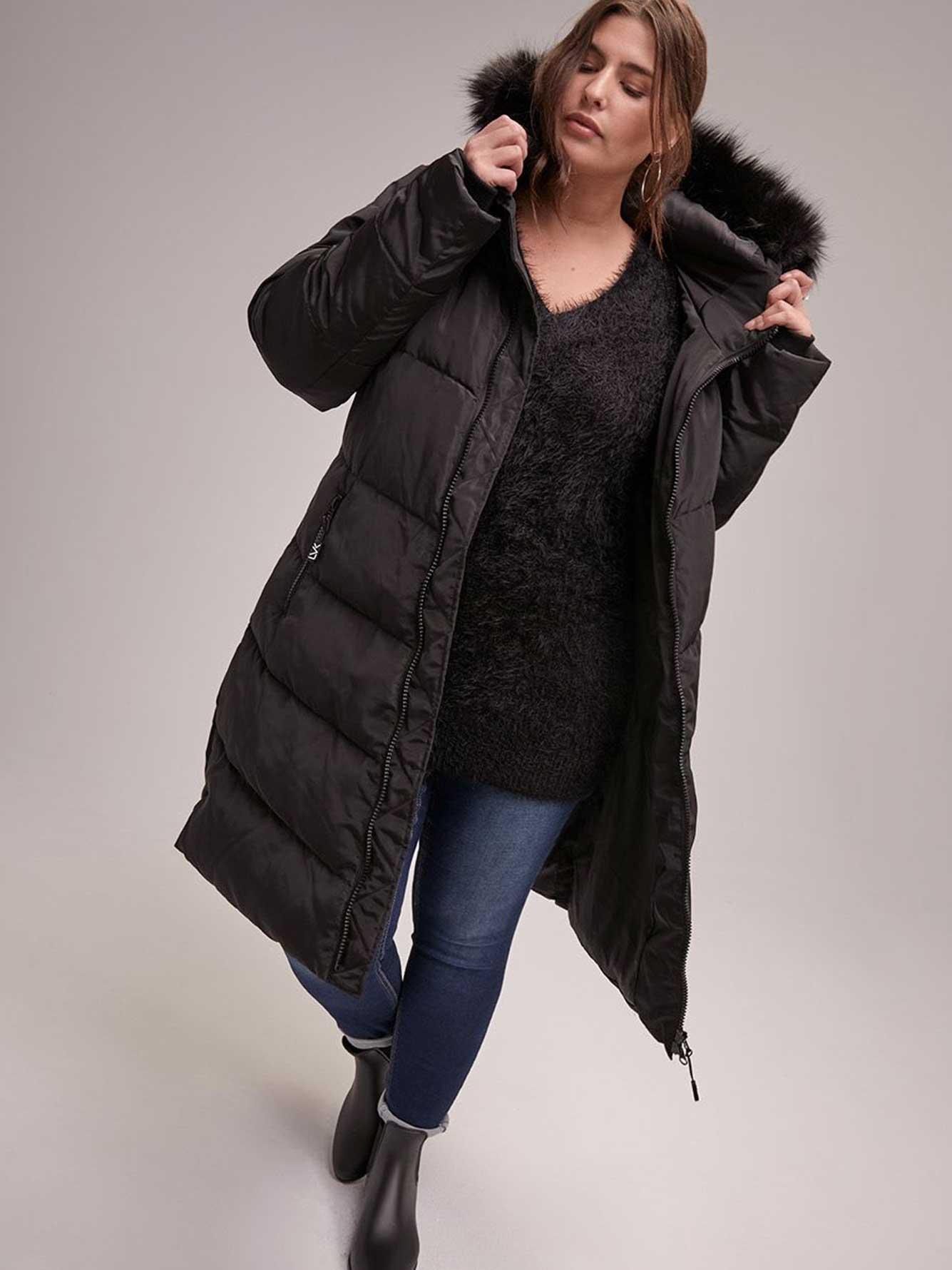 edaf26b220f Hooded Long Puffer Coat with Removable Faux Fur Trim - Livik | Addition Elle