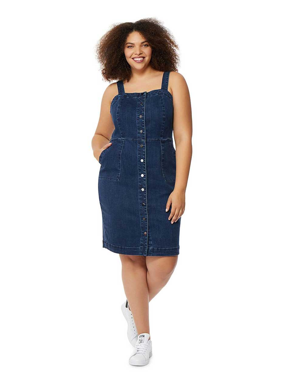 Rebel Wilson Denim Dress with Straps & Buttons