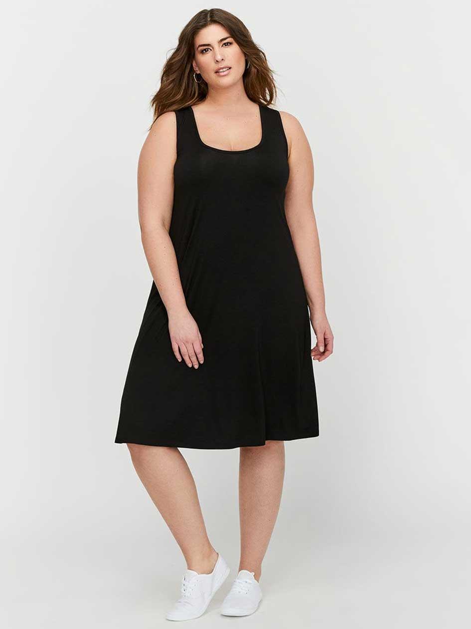 L&L Short Tank Dress with Back Crochet Details.Black.X 30881738